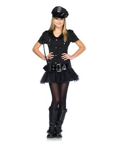 """Sergeant Sassy Teen Costume. Hey parents! You can send your kid out dressed as a stripper-gram! What a grand idea! There's that """"sassy"""" thing again. Notice how this looks so much like that """"sexy"""" cop garbage in the adult section? Just say no."""