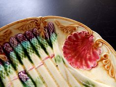 French Antique Asparagus Plate in Barbotine by Vintagefrenchlinens, $150.00