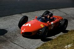 1961 – Richie Ginther's (#5) Ferrari 156 – Nürburgring German Grand Prix – Qualified: 14th, Finished: 8th, 5:23.1 sec Back