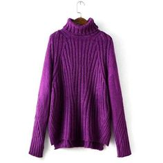 Yoins Yoins Purple Chunky Roll Neck Sweater featuring polyvore, fashion, clothing, tops, sweaters, purple, shirts & tops, loose fitting shirts, cowl neck shirt, raglan sweater, roll neck sweater and purple shirt
