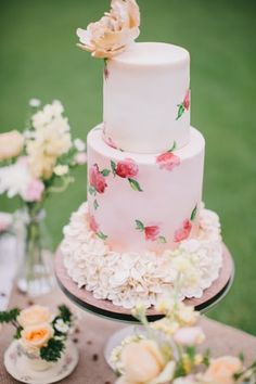 Pretty pink tiered wedding cake with hand-painted roses and sugar flowers // Top 10 Wedding Cake Creators in Malaysia - Part 1