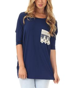 Look at this Navy Blue Crochet Pocket Boatneck Top on #zulily today!