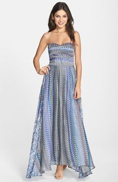 Charlie+Jade+Print+Pleated+Strapless+Maxi+Dress+available+at+#Nordstrom