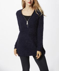 Another great find on #zulily! Navy Wool-Blend Zip-Front Tunic #zulilyfinds