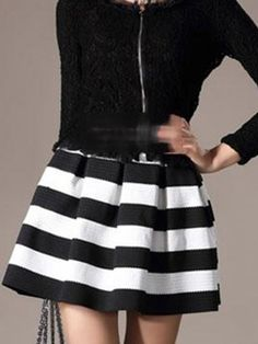 Women Candy Color Stripe Ball Gown High Waist Black White Stripe Slim Package Hip Short Mini Skirts