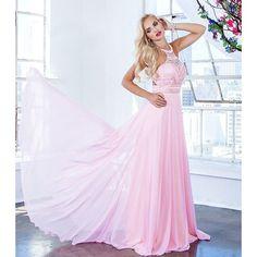 Shail K 4038 Pink Embellish A-Line Prom Dress ($420) ❤ liked on Polyvore featuring dresses, halter dress, pink dress, beaded prom dresses, halter top and prom dresses