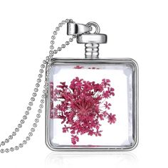 3.19$  Buy here - http://aiwtz.worlditems.win/all/product.php?id=J0561S-8 - Fashion New Jewelry Romantic Transparent Crystal Glass Square Floating Locket Dried Flower Plant Specimen Golden/Silver Pendant Chain Necklace for Women Girls