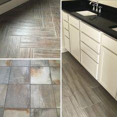 Loving these recent floor tile installs!     Herrringbone Wood Tile     Distressed Tile Flooring     Taupe Large Format Tile     Mudroom & Bathroom Ideas     Warm Grays