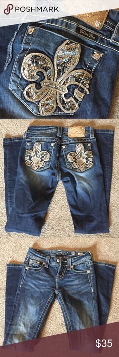 Boot Cut Miss Me Jeans Super cute, hardly worn. Gold and silver in the detail. Boot cut, mid rise, very comfy! Miss Me Jeans Boot Cut