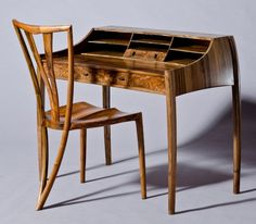 David Haig - Writing Desk & 'V' Chair - English Walnut