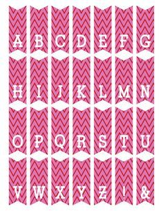 free printable mini alphabet bunting from ScrapNFonts Diy Mini Bunting, Pink Bunting, Diy Cake Topper, Birthday Cake Toppers, Happy Birthday, Pink Birthday, Bunting Template, Congratulations Banner, Baby Shower Templates
