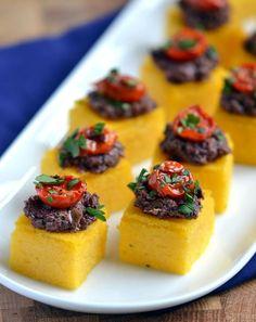 Polenta-Olive Tapenade Bites. An elegant party appetizer! | coconutandberries.com