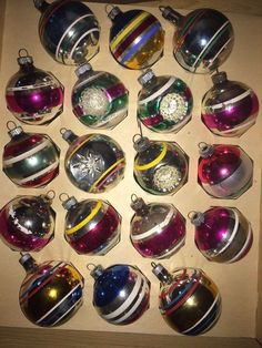 Vintage Mercury Shiny Brite Pink Fuschia Blue Red Christmas Balls Double Indents and striped balls Some paint loss see photos. Sold as is.