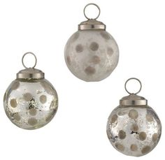 Set of 3 Antique Glass Polka Dot balls