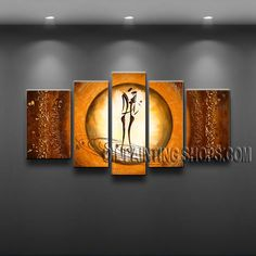 Stunning Modern Abstract Painting Hand Painted Oil Painting Gallery Stretched Figure. This 5 panels canvas wall art is hand painted by Bo Yi Art Studio, instock - $168. To see more, visit OilPaintingShops.com