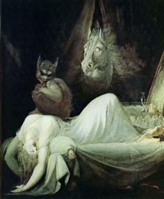 """The Nightmare"" by John Henry Fuseli (Johann Heinrich Füssli), (Goethe-Museum, Frankfurt). Städel Museum, Sleep Paralysis, Francisco Goya, Arte Obscura, William Blake, Macabre, Dark Art, Folklore, Oeuvre D'art"