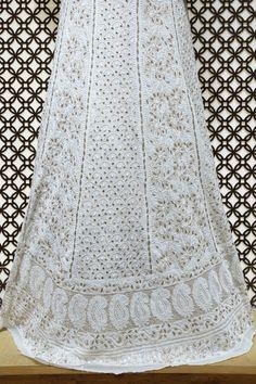 Ada #handembroidered #white  #georgette #lucknowi  #chikankari #lehenga Skirt (only skirt) – A571917