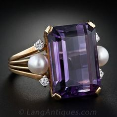 Retro Emerald-Cut Amethyst, Brilliant Cut Diamond And Pearl Ring, Mounted In 18k Yellow Gold c.1950's