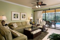 Would you enjoy this very GREEN living room?
