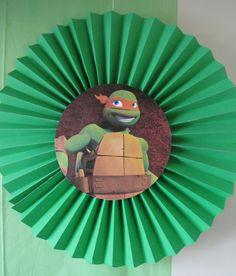TMNT tissue paper pinwheels with turtle centers