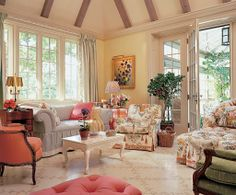 Love all the colors pulled together by the chintz.