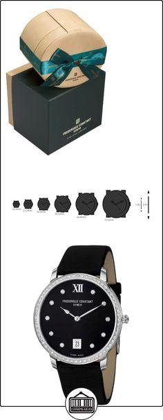 Frederique constante de la línea delgada FC-220B4SD36 37 mm caja de acero inoxidable de color negro de piel de becerro de zafiro anti-reflectante de la de los hombres y las mujeres de los relojes  ✿ Relojes para hombre - (Lujo) ✿