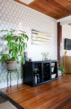Curious about stenciling on paneling? The answer is YES it's totally doable and it looks awesome. Just look at this Casablanca stenciled space we spotted on Apartment Therapy.  Make this stencil yours! http://www.cuttingedgestencils.com/allover-stencils.html  #cuttingedgestencils #stencils #stenciling #wallstencils