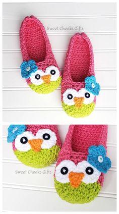 Crochet Owl Slippers Free Patterns DIY Tutorials Crochet Adult Owl Slippers Purchase Learn the rudim Crochet Slipper Boots, Crochet Slipper Pattern, Crochet Slippers, Crochet Toddler, Crochet Baby, Knit Crochet, Crochet Owl Hat, Crochet Owl Basket, Owl Crochet Patterns