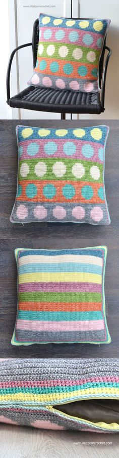 Tapestry Circles Pillow - FREE crochet pattern by Lilla Bjorn. (with step-by-step pictures, chart and written instructions). Crochet Cushion Cover, Crochet Cushions, Cushion Covers, Pillow Covers, Crochet Home Decor, Crochet Crafts, Free Crochet, Futons, Crochet Pillow