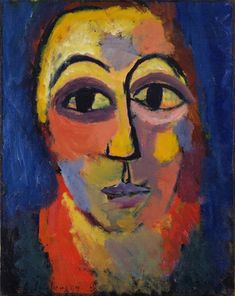 """Head Alexei Jawlensky (Russian, 1864-1941) c. 1910? Oil on canvas over cardboard, 16 1/8 x 12 7/8"""" (41 x 32.7 cm). Acquired through the Lillie P. Bliss Bequest. © 2012 Artists Rights Society (ARS), New York / VG Bild-Kunst, Bonn"""