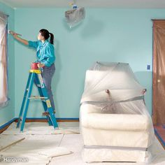Protect against spills, splatters and other disasters with these handy DIY painting tips. You won't make a mess with your next painting job. Painting Tips, House Painting, Ceiling Painting, Painting Techniques, Canvas Drop Cloths, Professional Painters, Home Repairs, Do It Yourself Home, Home Hacks