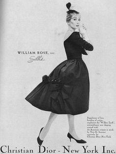 I so adore the bustle-esque, bow adorned back of this elegant Dior dress. #vintage #1950s #fashion #designer
