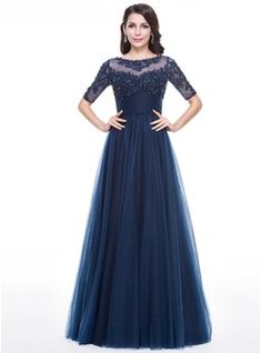A-Line/Princess Scoop Neck Floor-Length Tulle Evening Dress With Ruffle Beading Appliques Lace Sequins (017056630) - JJsHouse
