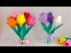 Tul 折 り 紙】 チ ュ ー リ ッ プ Tulipe en origami – Origami Community : Explore the best and the most trending origami Ideas and easy origami Tutorial Tulip Origami, 3d Origami, Origami Easy, Origami Paper, Origami Tutorial, Flower Tutorial, How To Make Rose, Diy And Crafts, Paper Crafts