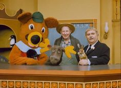 Captain Kangaroo in the mornings on CBS. Dancing Bear, Mr. Moose, Mr. Green Jeans, Bunny Rabbit and the Captain himself!
