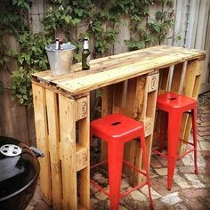We all love patio bars and spends a lot of bucks on having one in our front or backyard. Simplify your desires and build this simple yet rustic and elegant patio bar accompanied with bar-b-que area. Its deliciously entertaining for your family, friends and guests. Just join a few pallets and accompany the bar counter with plastic stools.