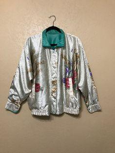 vintage Floral silky reversible jacket. la phia by june22nd