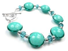 Murano Glass Pebble Bead Bracelet - Teal