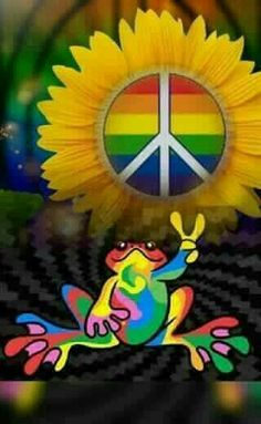 "Peace sign & peace frog (no words - ""Peace Frog Art "")✌❤ Paz Hippie, Hippie Trippy, Hippie Peace, Happy Hippie, Hippie Love, Hippie Style, Hippie Chick, Peace Love Happiness, Peace And Love"