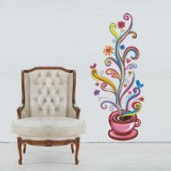 Floral Fincan Çocuk Odası Duvar Sticker http://www.stickerdepo.com/