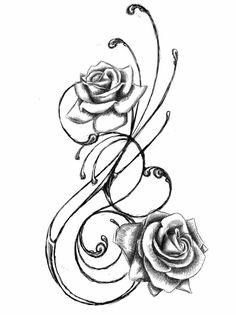 Blumenranken Tattoo Vorlage Rosen stilisiert herrlicher Look