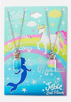 Justice is your one-stop-shop for on-trend styles in tween girls clothing & accessories. Shop our BFF Mermaid & Unicorn Potion Pendant Necklace - 2 Pack. Friendship Necklaces, Friend Necklaces, Girls Necklaces, Charm Necklaces, Girls Jewelry, Cute Jewelry, Dessin Animé Lolirock, Justice Accessories, Unicorn Fashion