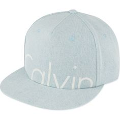 MYCALVINS X KENDALL JENNER Denim baseball cap ($100) ❤ liked on Polyvore featuring accessories, hats, crystal blue rigid, baseball cap, snapback hats, denim baseball hat, panel hats and blue hat