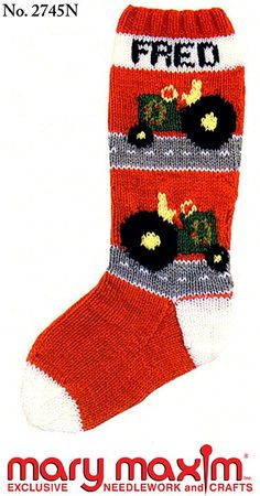 Knit a Christmas stocking using Mary Maxim Worsted Weight yarn. Knit Stockings, Knitted Christmas Stockings, Vintage Stockings, Christmas Knitting, Santa Stocking, Christmas Stocking Pattern, Stocking Ideas, Knitting Projects, Knitting Patterns