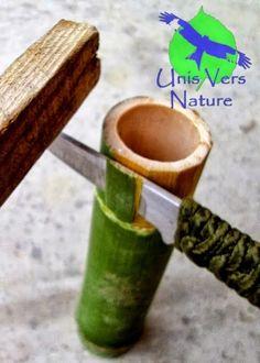 technique bushcraft fabriquer une boite en bambou