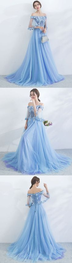 Unique blue tulle off shoulder long prom dress, blue evening dress