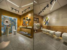 "Ceramic shoppe by a + t associates, vadodara - india "" retail design b Showroom Interior Design, Tile Showroom, Shop Front Design, House Design, Floor Plan Layout, Display Design, Display Ideas, Commercial Interiors, Retail Design"