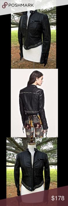 """Free People black Stud Vegan Leather Moto Jacket 2 Free People black """"Lace Up Studded Vegan Leather Moto Jacket"""" Vegan leather zipper front Moto Jacket with gold & silver studs around pointed front, on front shoulders and across back * Lace up cuffs added a feminine and edgy look 2 front snap collar * 3 front zipper pockets * pointed front middle * lined in black satin New Without Tags  *  Size:  2  100% polyurethane poly satin lining  Measurements for 2: Bust: 32 in  Waist: 30 in  Length…"""