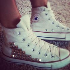 DIY studded converse high tops.  Amazing!  Im so doing this when i get new high tops in the spring