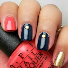 Navy gold and coral skilette.  Opi Live Love Carnival Zoya Ziv and Timo.